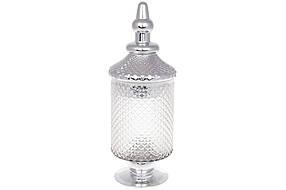 Банка стеклянная Шевалье, 38см, цвет - прозрачный с серебром (591-218)