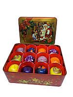 Шоколадные конфеты ручной роботы *Рождественская металлическая коробочка на 12 конфет.*