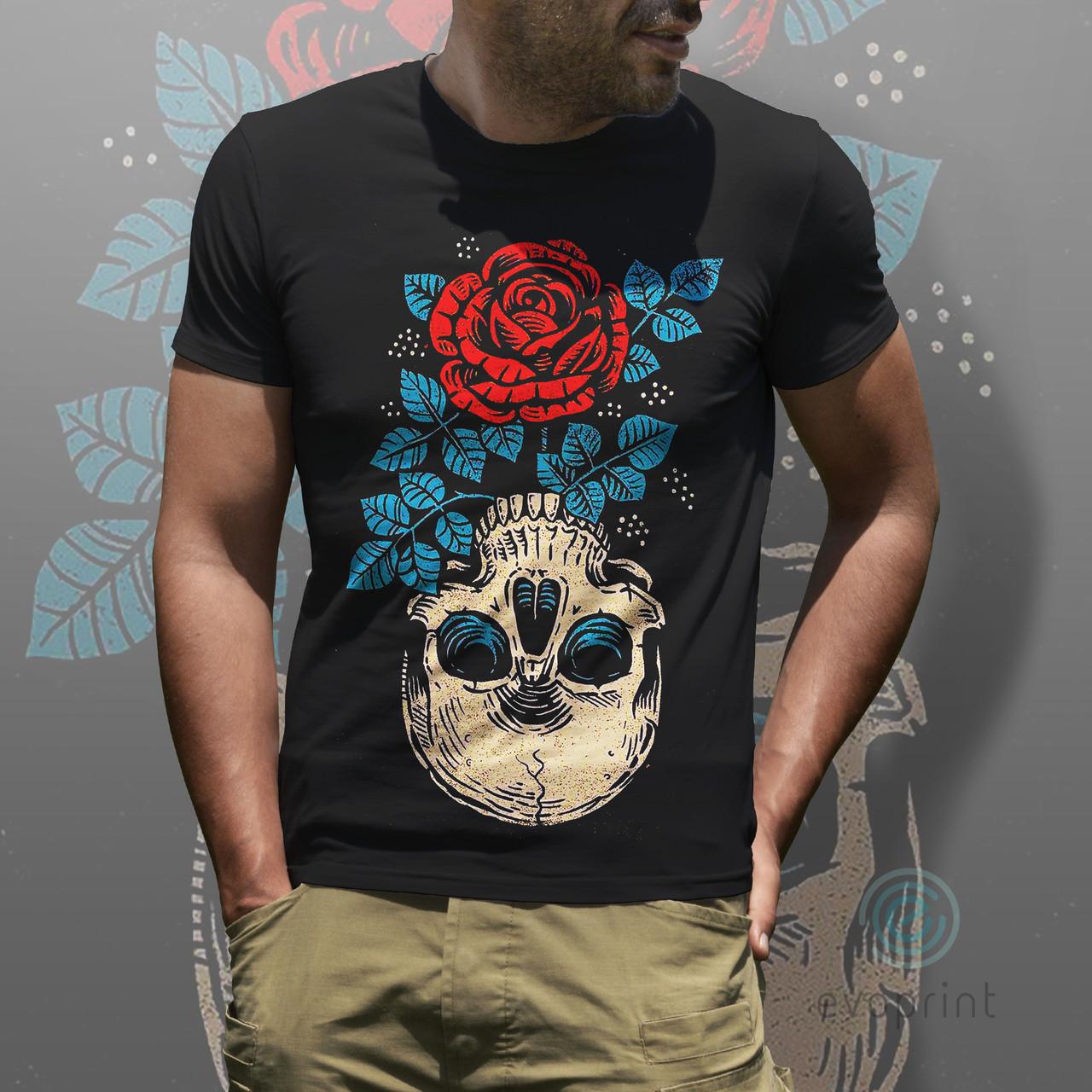 Прямая печать на ченрных футболках