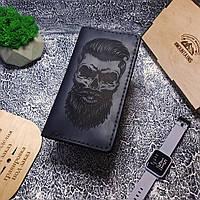 Портмоне для Мужчины Кошелек на Подарок из Натуральной Кожи от производителя клатч Mountains Череп Barber