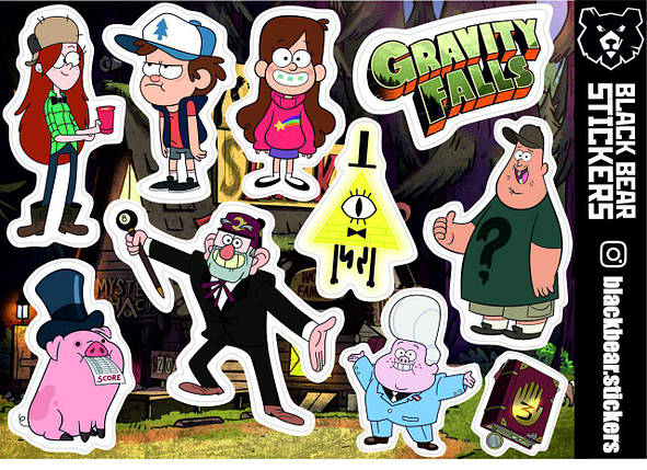 "Стикерпак №17: ""Gravity Falls, Гравити Фоллз"". Стикеры, наклейки, набор, фото 2"