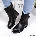 Женские зимние ботинки в черном цвете из натуральной кожи, фото 3