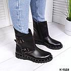 Женские зимние ботинки в черном цвете из натуральной кожи, фото 4