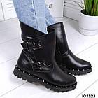 Женские зимние ботинки в черном цвете из натуральной кожи, фото 5