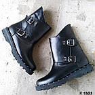 Женские зимние ботинки в черном цвете из натуральной кожи, фото 2