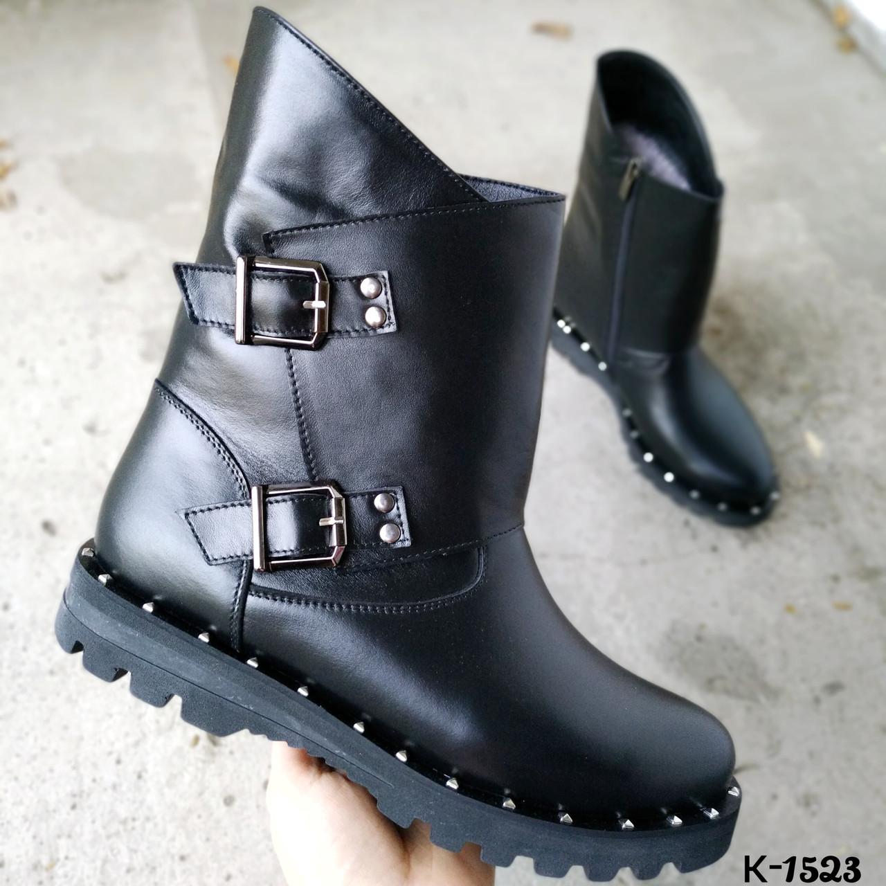 Женские зимние ботинки в черном цвете из натуральной кожи