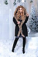 Модное женское кашемировое пальто с натуральным мехом