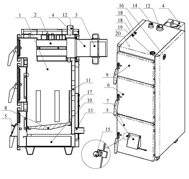 Схема пристрою котла Проскурів