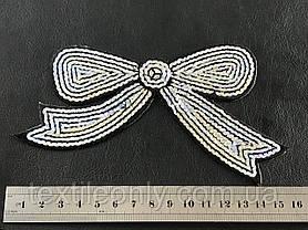 Нашивка бантик с пайетками серебро, фото 3