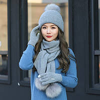 Женский зимний комплект шапка, шарф и сенсорные перчатки Kaya Kuvera gray