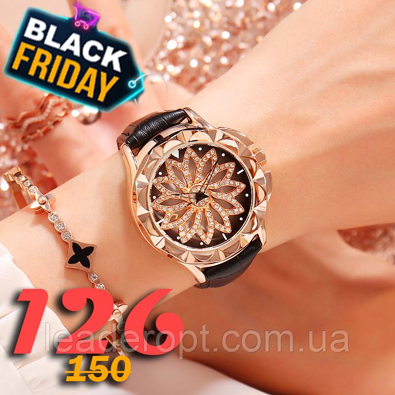 Розкішні жіночі наручні годинники красиві в стразах і каміннях з обертовим циферблатом ОПТ
