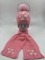 """Комплект вязаная шапочка для девочки и шарф с петлей  """"Цветочки"""" на флисе, с завязками, код ДФК3046"""