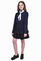 Блузка  для девочек  М-1053 рост 122 128 134 140 146 152 158 164 170 синяя, фото 1