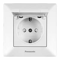 Розетка с заземлением крышкой и шторками Arkedia Slim Panasonic (белый)