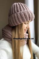 Комплект: шапка + хомут (снуд) темная пудра шерсть/акрил
