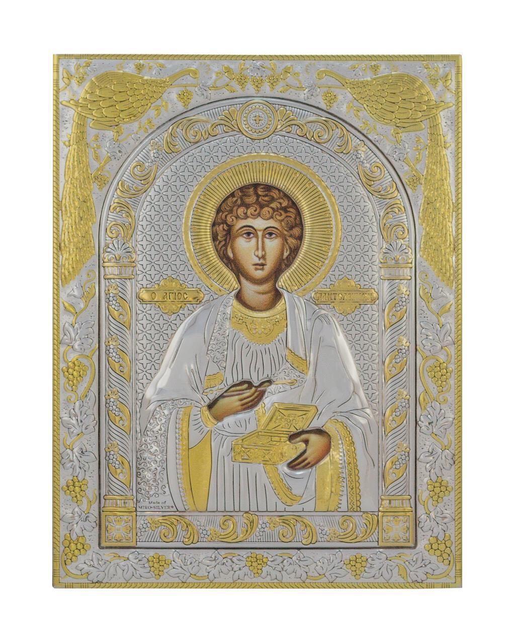 Пантелеймон икона 120 мм х 160 мм серебряная с позолотой
