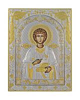 Пантелеймон икона 120 мм х 160 мм серебряная с позолотой, фото 1