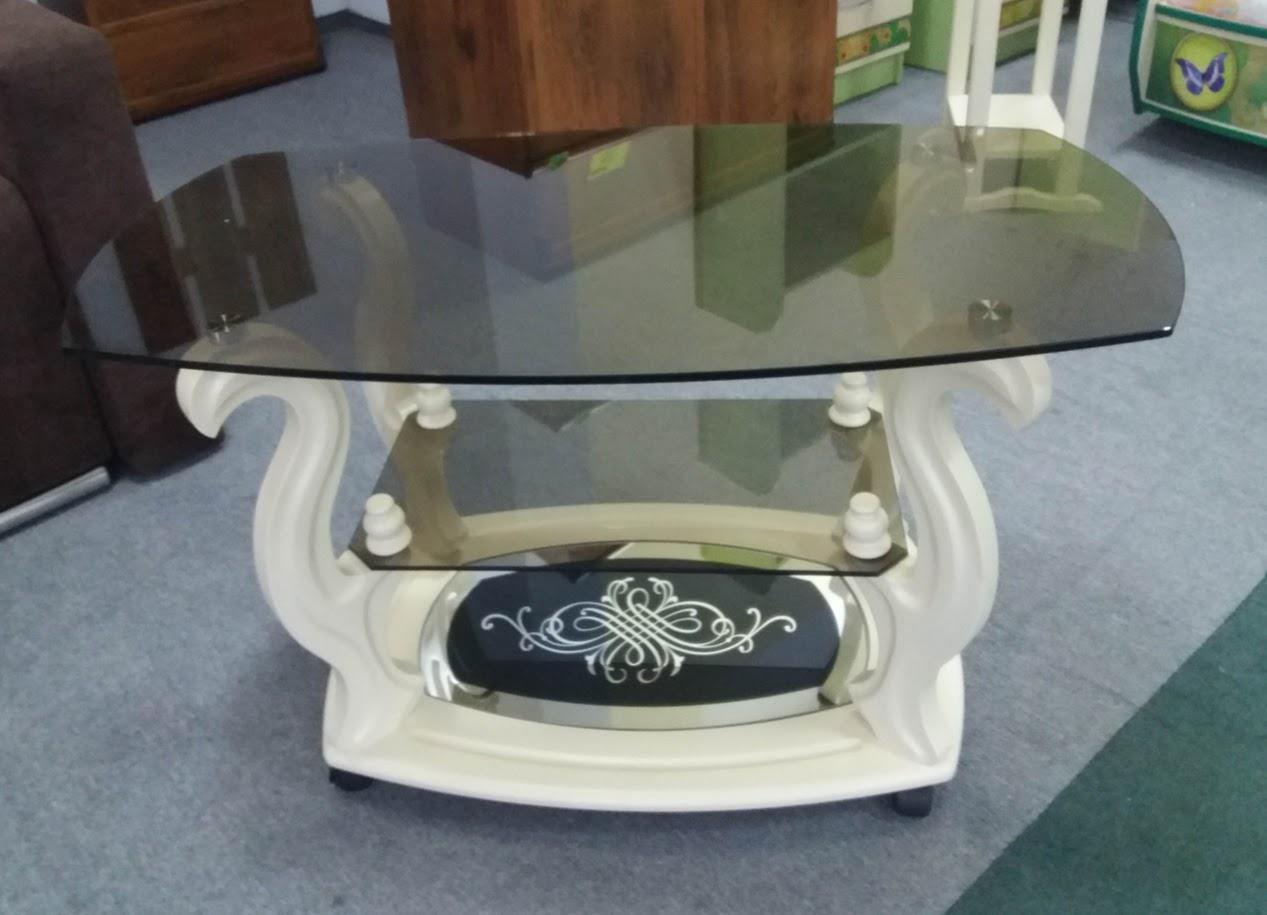 Стеклянный журнальный столик на колесиках ДС-26 Бристоль-2 , на деревянной основе  Антоник
