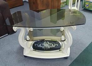 Стеклянный журнальный столик на колесиках ДС-26 Бристоль-2 , на деревянной основе  Антоник, фото 2