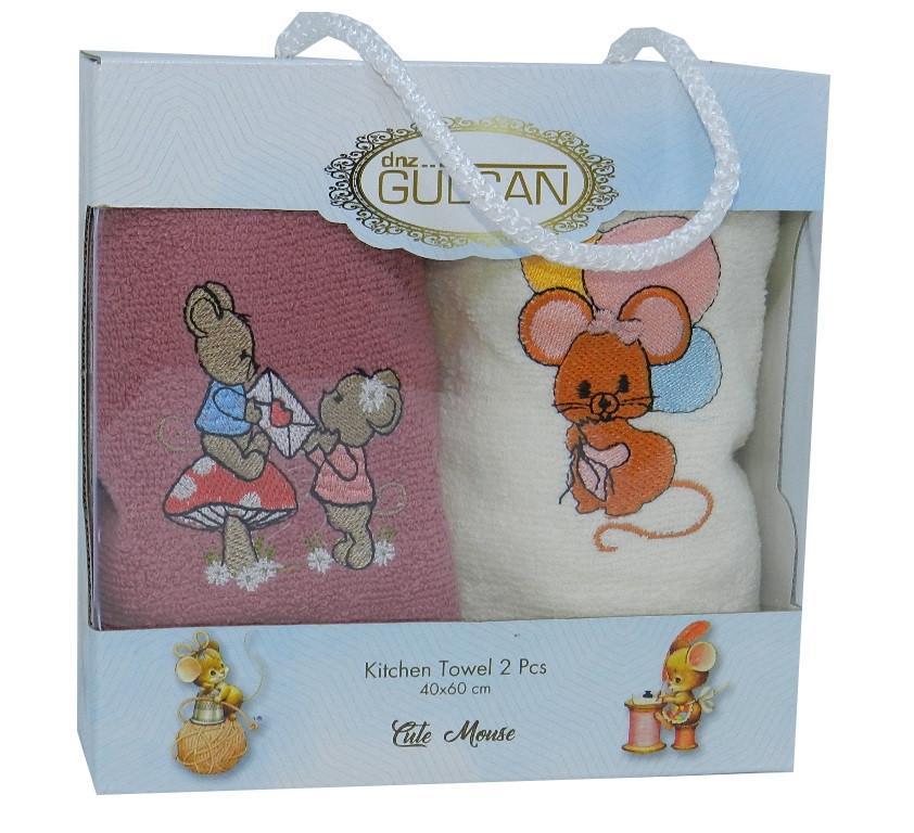 Подарочный новогодний набор полотенец 2шт  с мышками  30*50 Турция