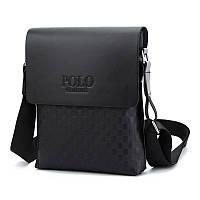 Стильная мужская сумка Polo кросс-боди, мягкая экокожа, черная