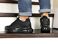 Кроссовки мужские зимние Nike Air Max 720, термо, черные с мятным