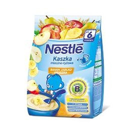 Каша молочная Nestle рисовая с бананом, яблоком и грушей, 6+, 230г