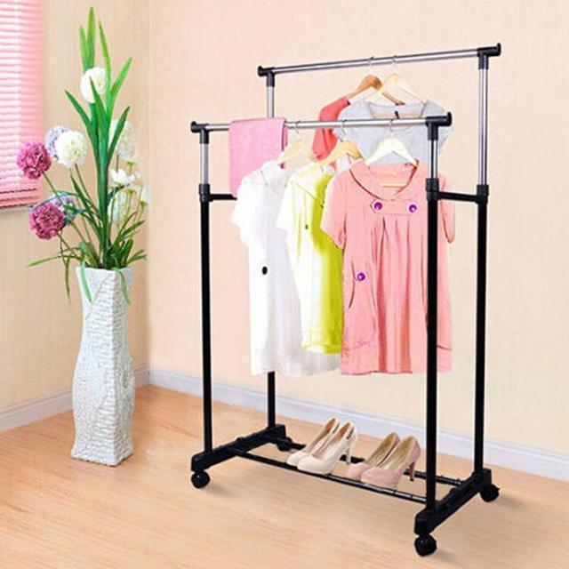 Напольная вешалка-стойка Double Pole Clothersrack, двойная телескопическая для одежды (30 кг)