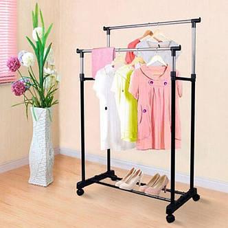 Напольная вешалка-стойка Double Pole Clothersrack, двойная телескопическая для одежды (30 кг), фото 2