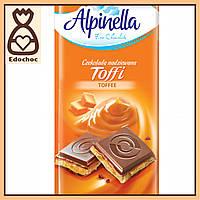 Шоколад Alpinella Toffi Молочный с начинкой Тоффи 100г