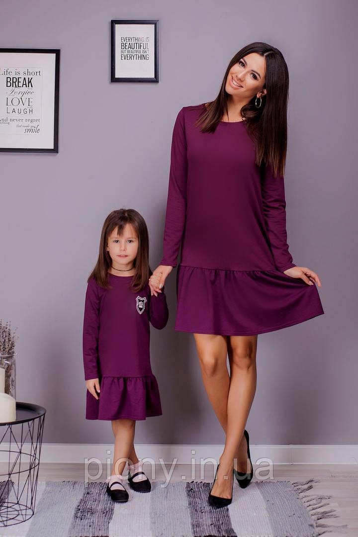 Комплект мама+дочка платье с воланом