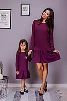 Комплект мама+дочка платье с воланом, фото 1