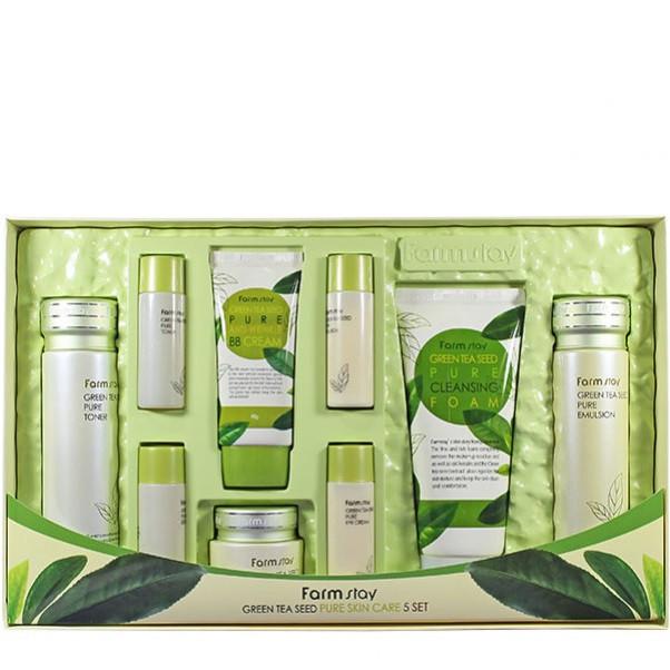 Набір по догляду за шкірою обличчя на основі екстракту зеленого чаю FarmStay Green Tea Seed Pure Skin care