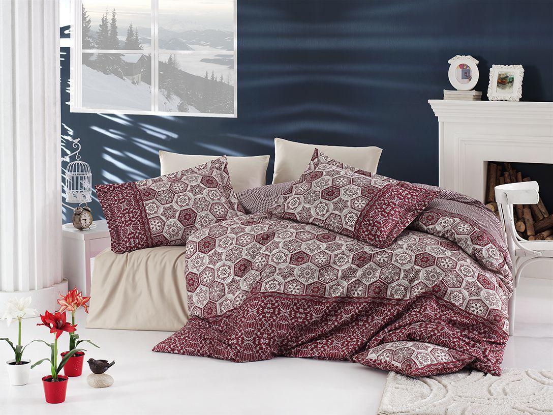 Евро-комплект постельного белья Nazenin MARGARITA BORDO Сатин. Турция