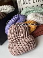 Женская шапка зимняя с двойным отворотом темная пудра шерсть/акрил
