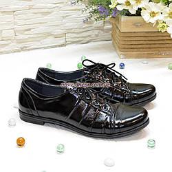 Туфли женские черные лаковые на шнуровке