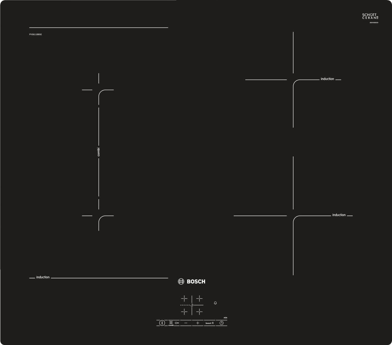 Индукционная варочная поверхность Bosch PVS611BB5E