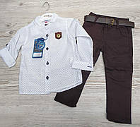 Костюм для мальчика 2-5 лет белая рубашка +брюки коричневого цвета с поясом оптом