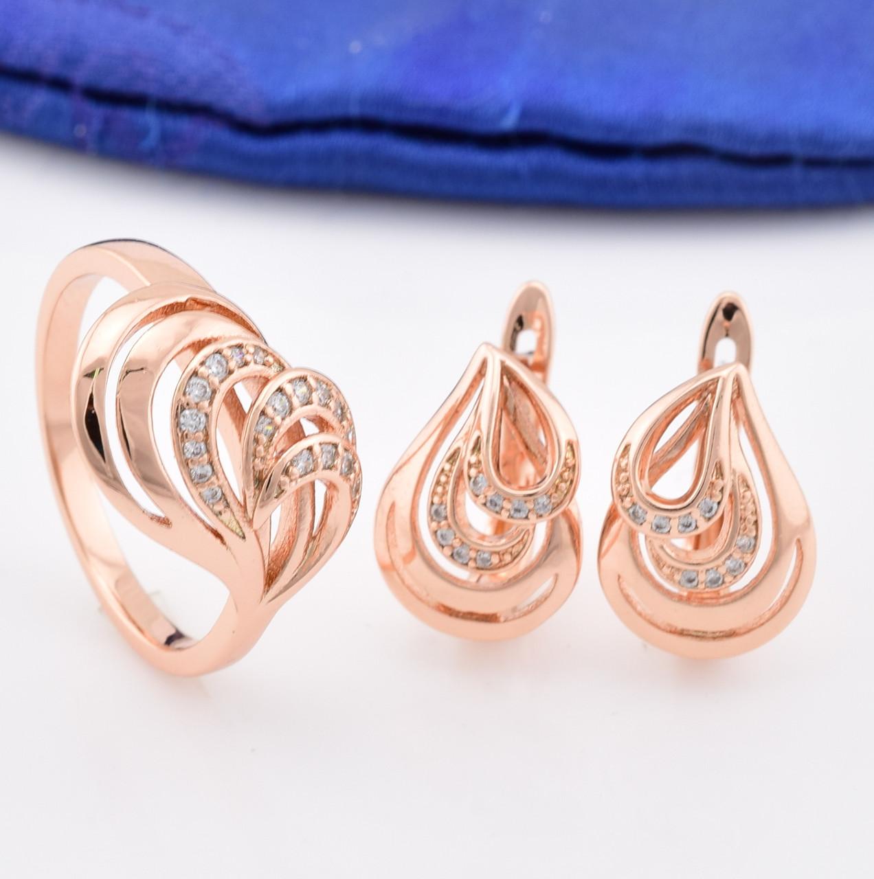 Набор Xuping 90034 Симфония кольцо размер 16 + серьги 15х11 мм белые фианиты позолота РО