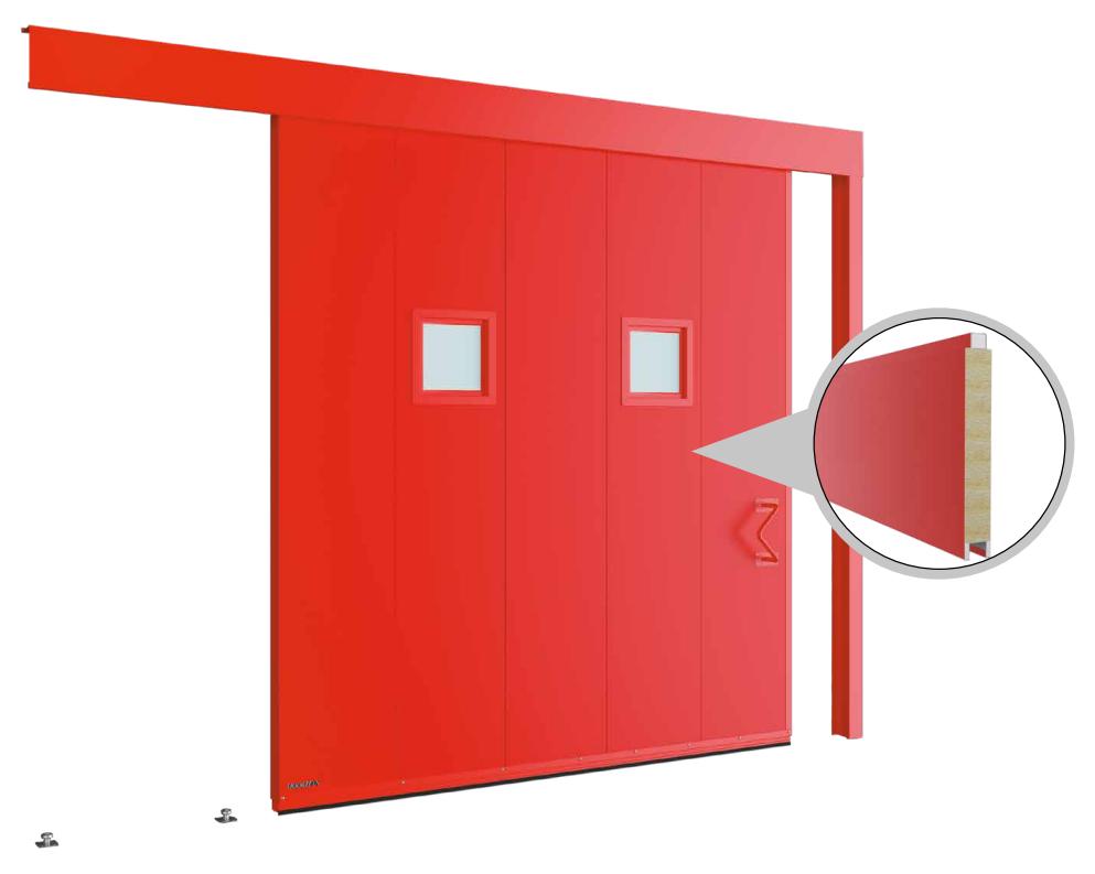 Противопожарные одностворчатые откатные ворота с классом огнестойкости EI60, EI90