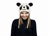 Шапка из шерстяных ниток детская Панда