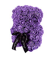 Мишка из 3D роз 25 см фиолетовый
