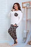 Женская трикотажная пижама больших размеров Размер 48 50 52 54 56 58 60 62 В наличии 2 цвета, фото 4