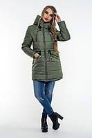Женская зимняя куртка хаки с капюшоном и карманам, фото 1