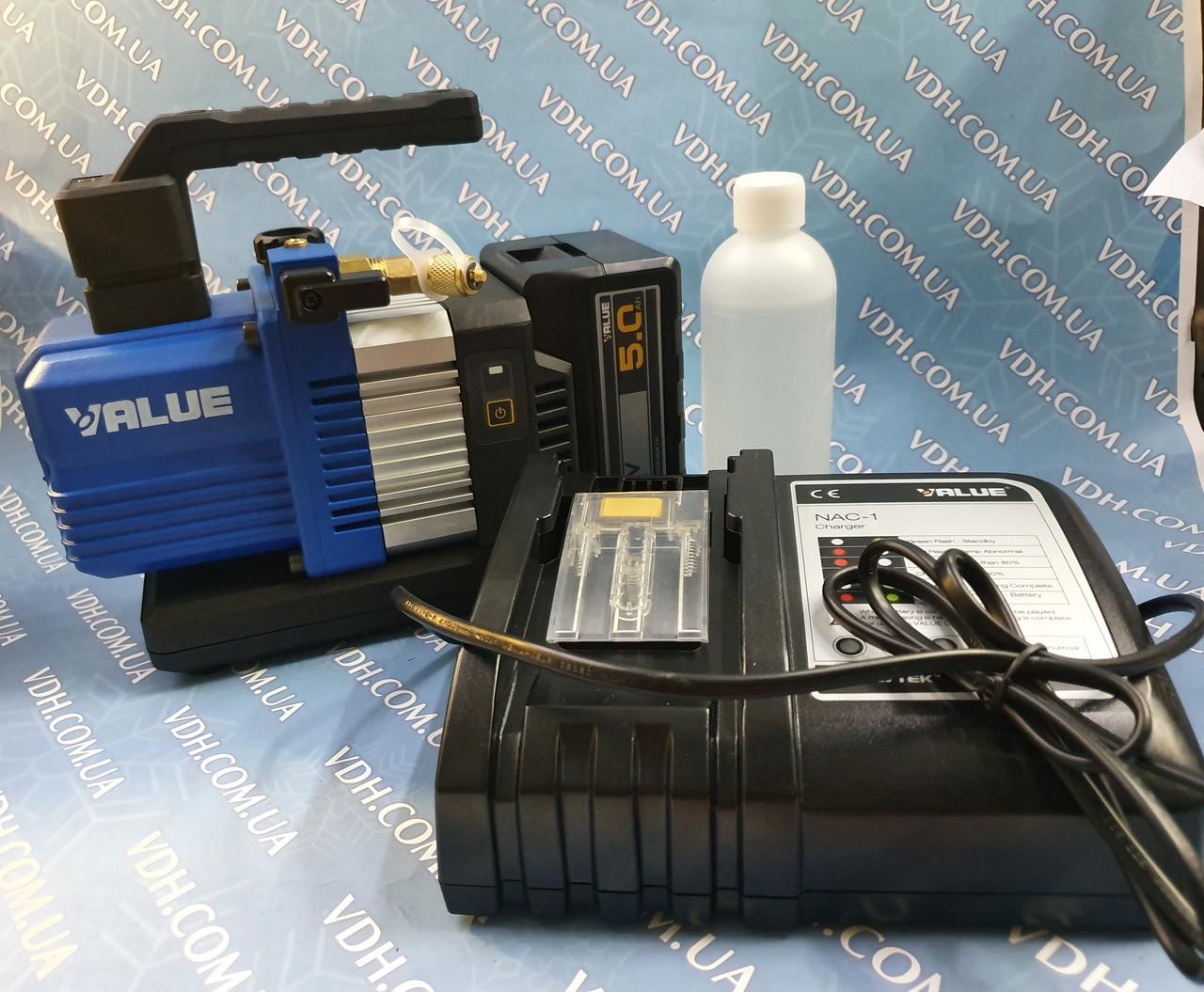 Вакуум-насос VALUE VRP-2DLI ( 2х ступ 57 л/хв ) акумуляторний в алюмінієвому кейсі