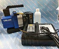 Вакуум-насос VALUE VRP-2DLI ( 2х ступ 57 л/хв ) акумуляторний в алюмінієвому кейсі, фото 1