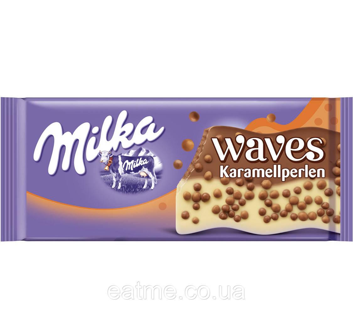 Milka Waves Karamellperlen Молочный и белый шоколад с рисовыми кружочками в шоколаде и карамели