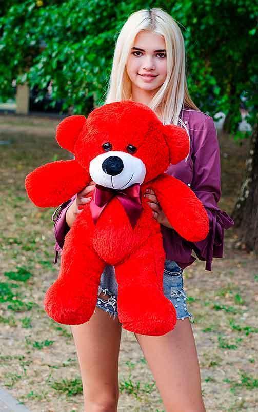 Плюшевый Мишка 80см. Все Цвета Плюшевый медведь Мишка игрушка (Красный)