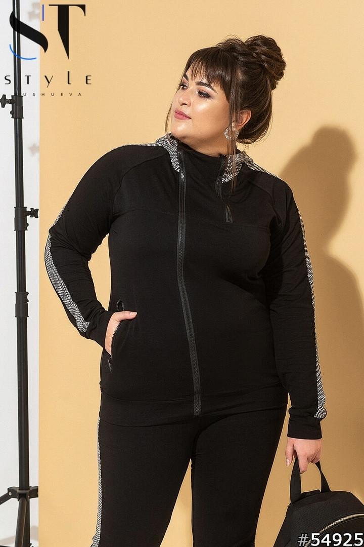Женский стильный спортивный костюм двухнить вязка турецкая от 48 до 58р.