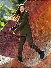Женский удлиненный свитшот с капюшоном зимний